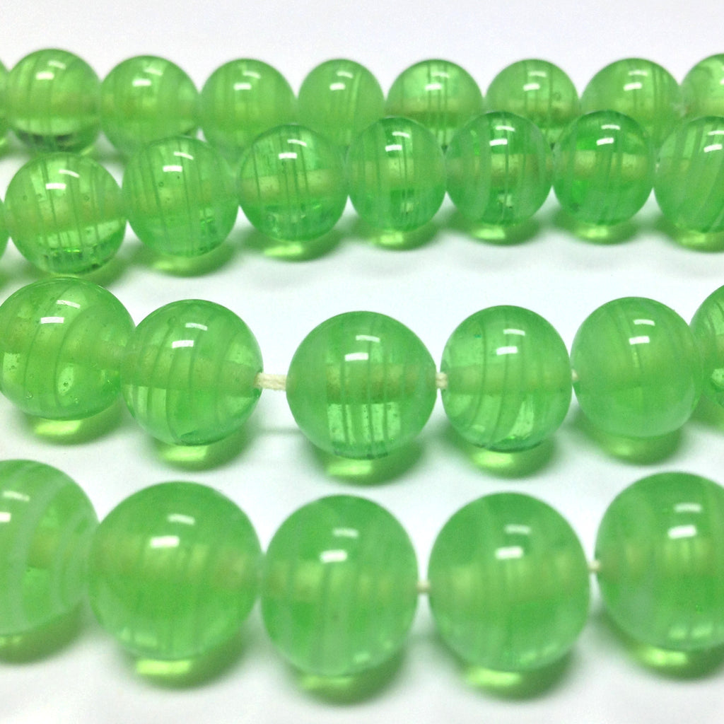 10MM Green Swirl Glass Round Bead (36 pieces)