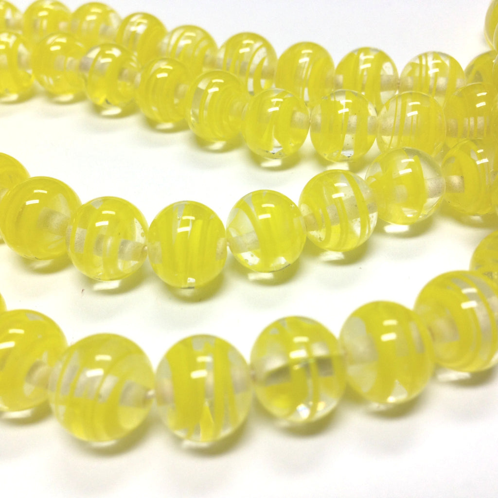 10MM Light Yellow Swirl Glass Round Bead (36 pieces)