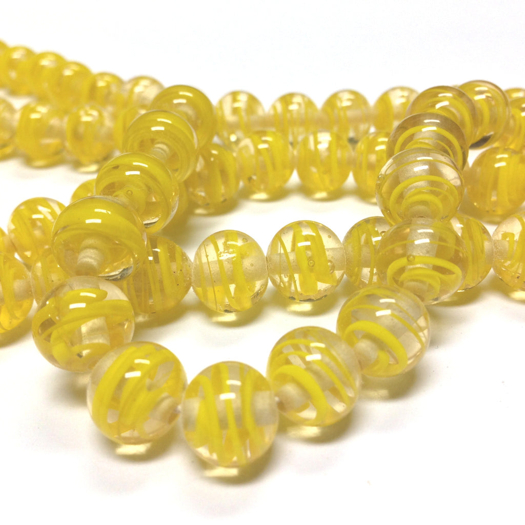10MM Yellow Swirl Glass Round Bead (36 pieces)