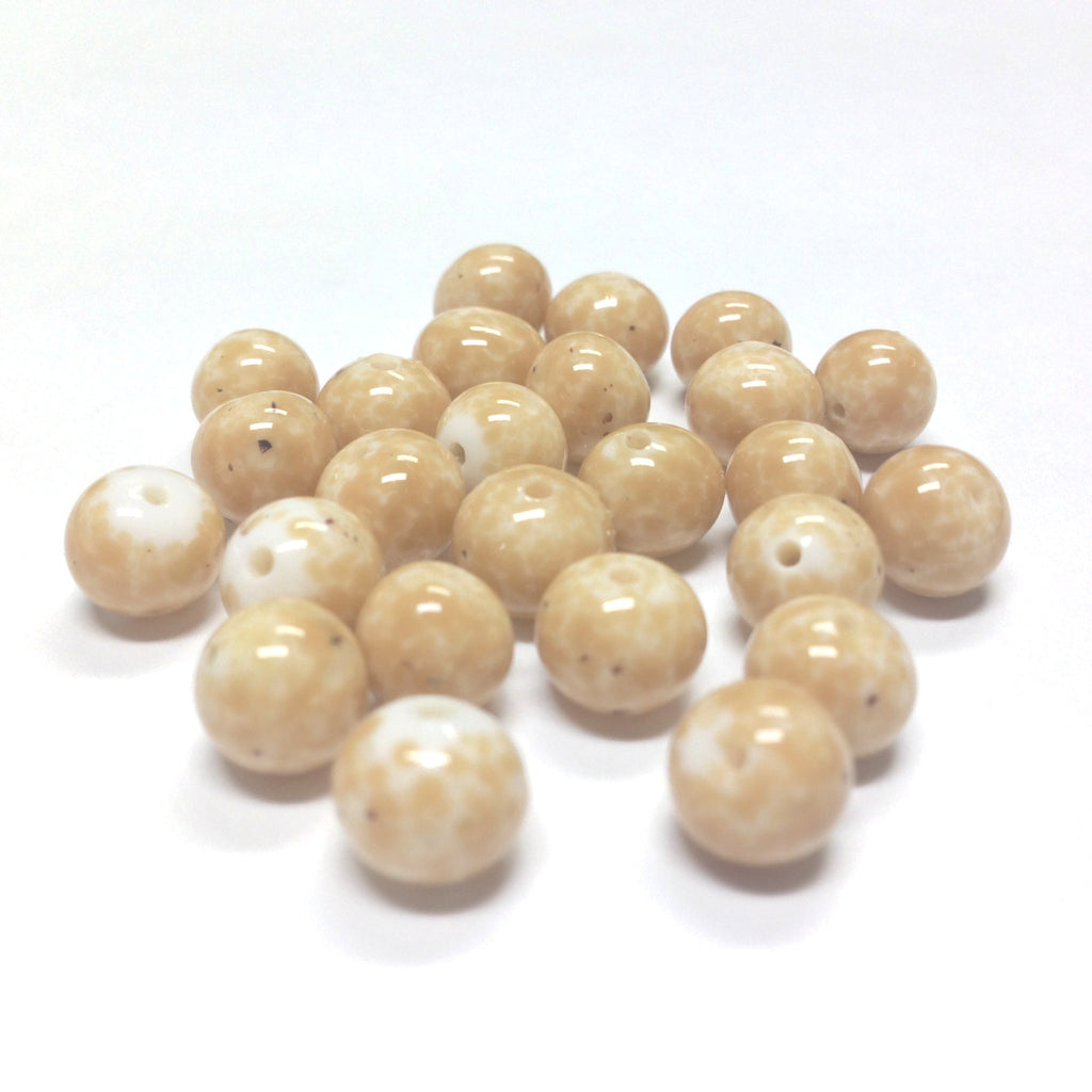 12MM Beige Matrix On White Glass Round Bead (36 pieces)