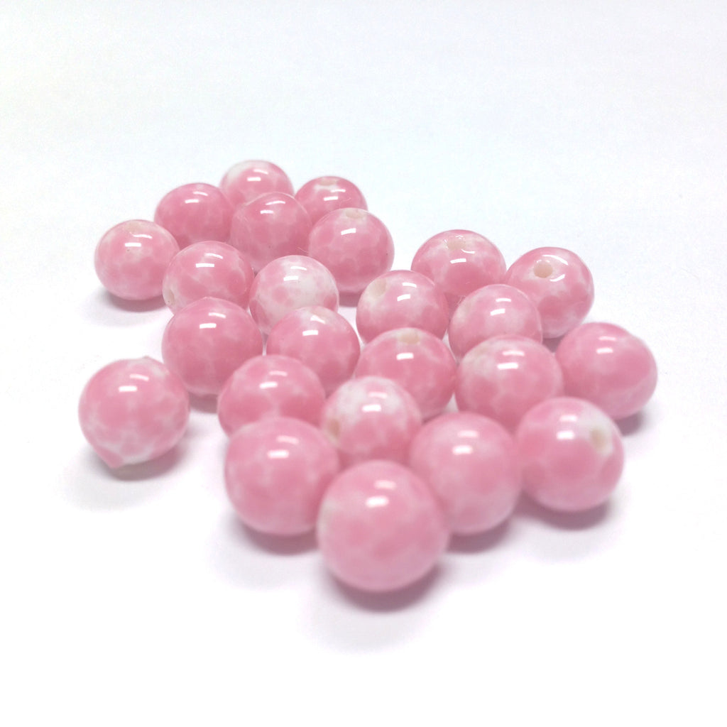 10MM Pink Matrix On White Glass Round Bead (36 pieces)