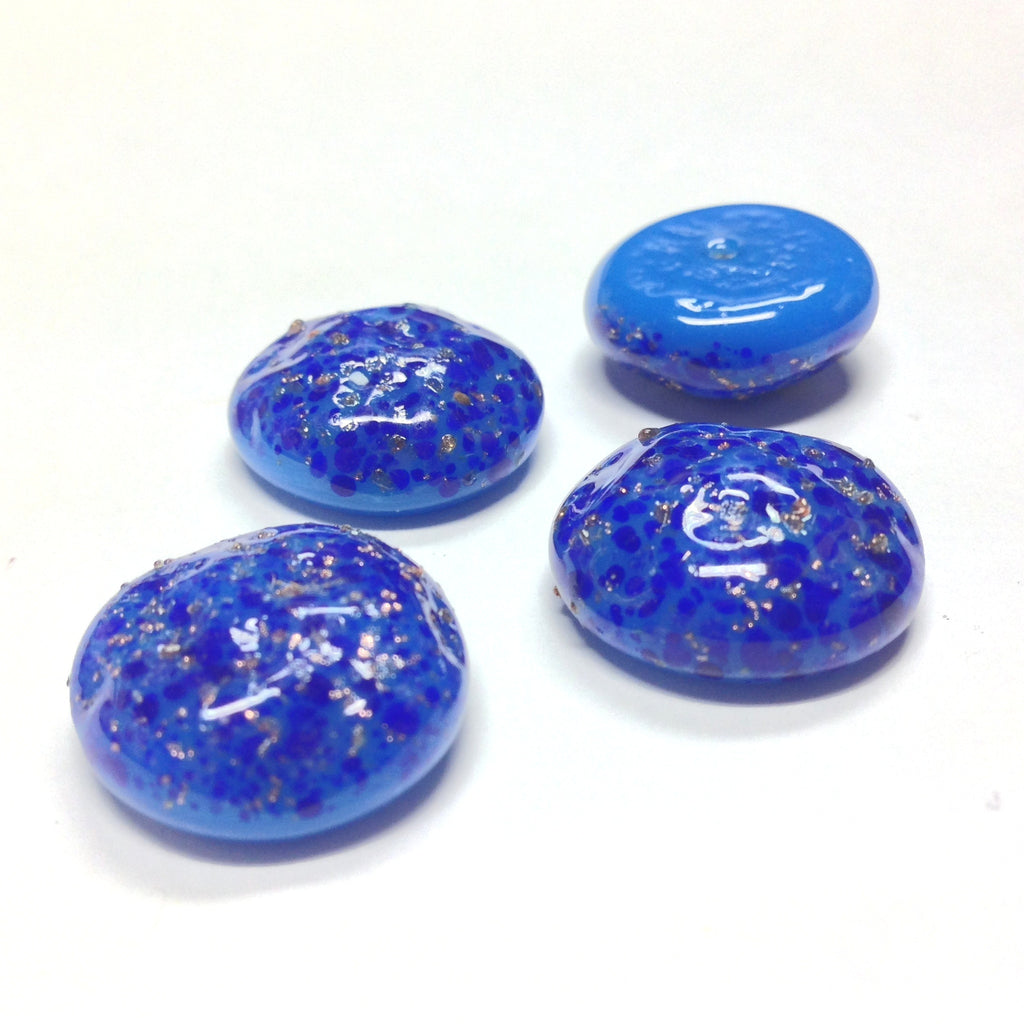 18MM Lapis With Gold Fleck Glass Baroque Cab (12 pieces)