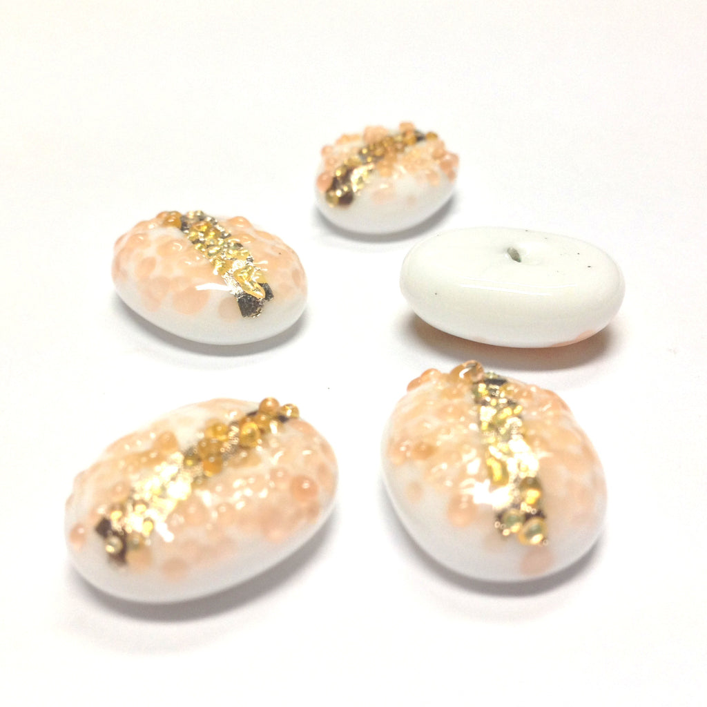 18X13MM Peach On White Glass Oval Cab w/Foil Stripe (12 pieces)