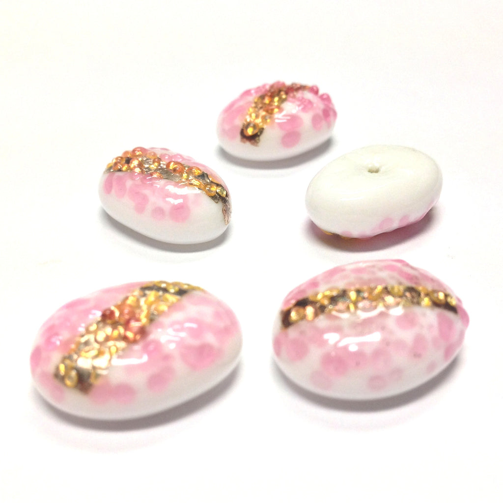 18X13MM Pink On White Glass Oval Cab w/Foil Stripe (12 pieces)