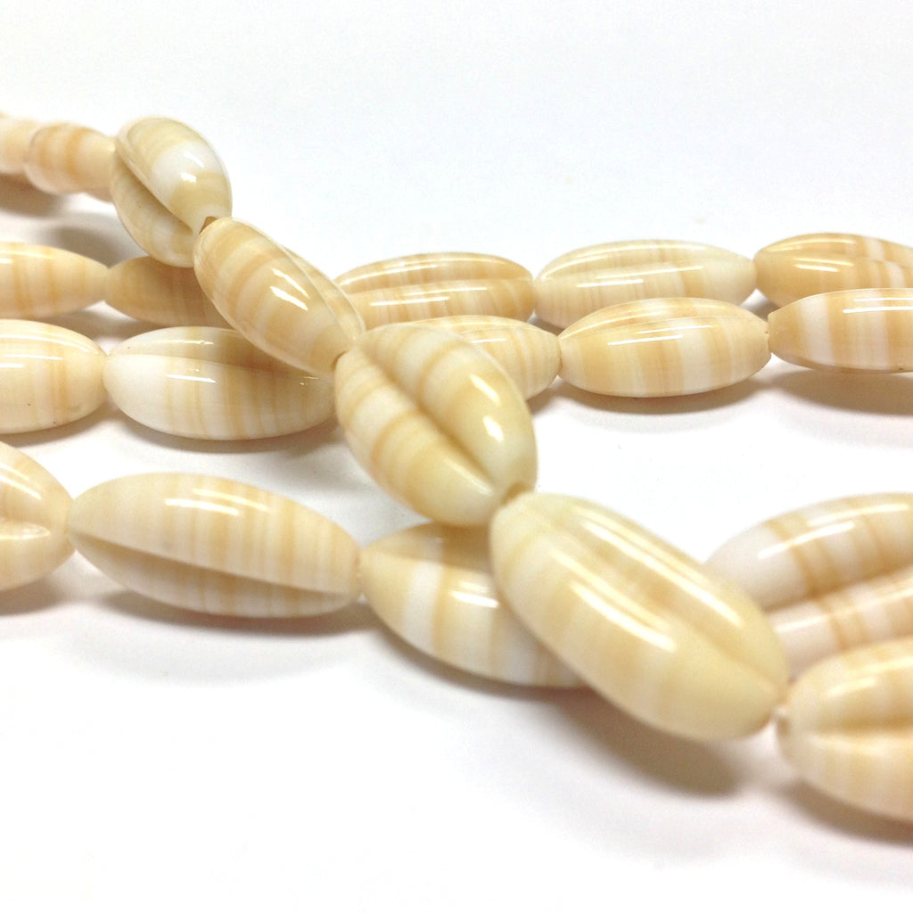 14X8MM Beige/White Glass Oval Bead (107 pieces)