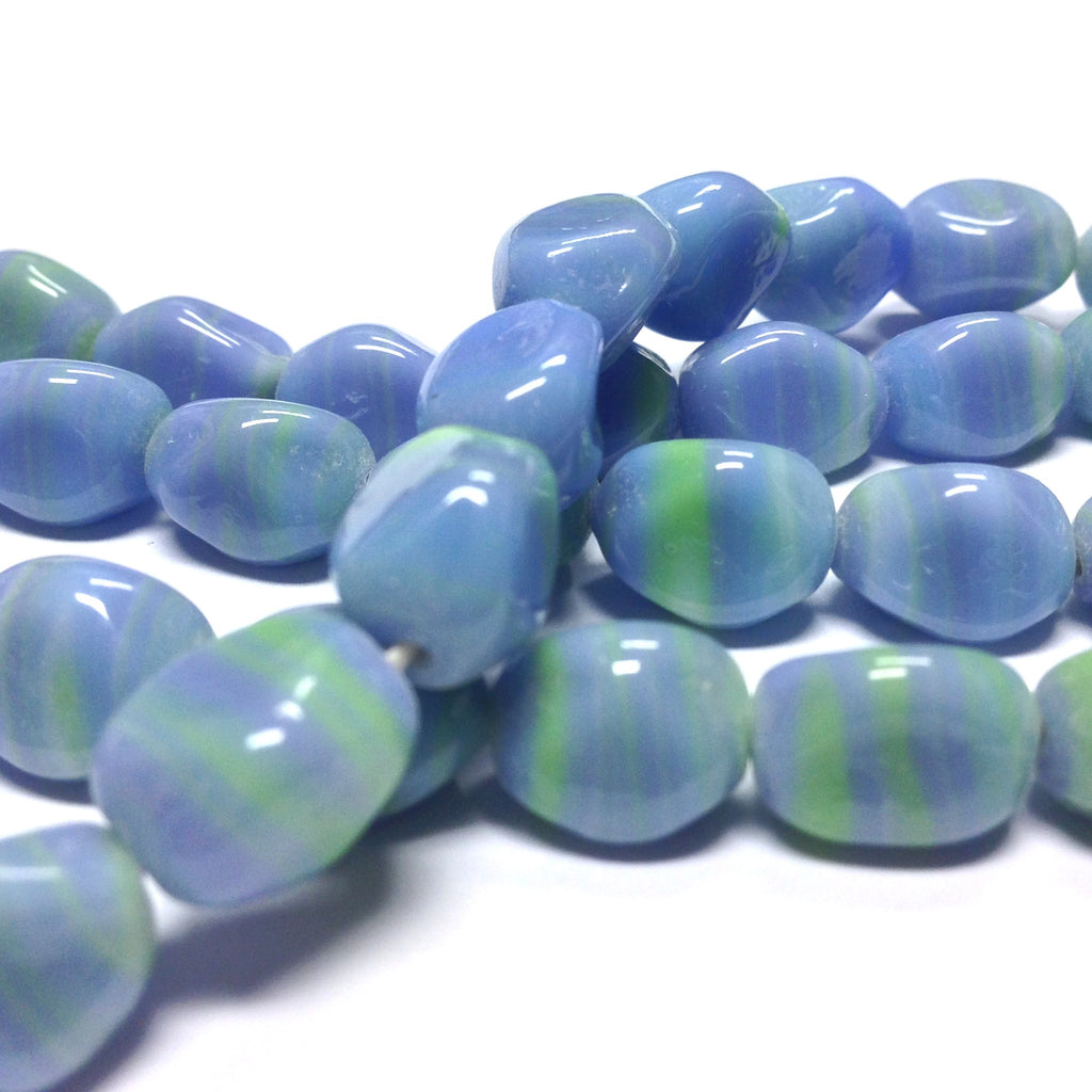 11X8MM Blue Glass Nugget Bead (50 pieces)