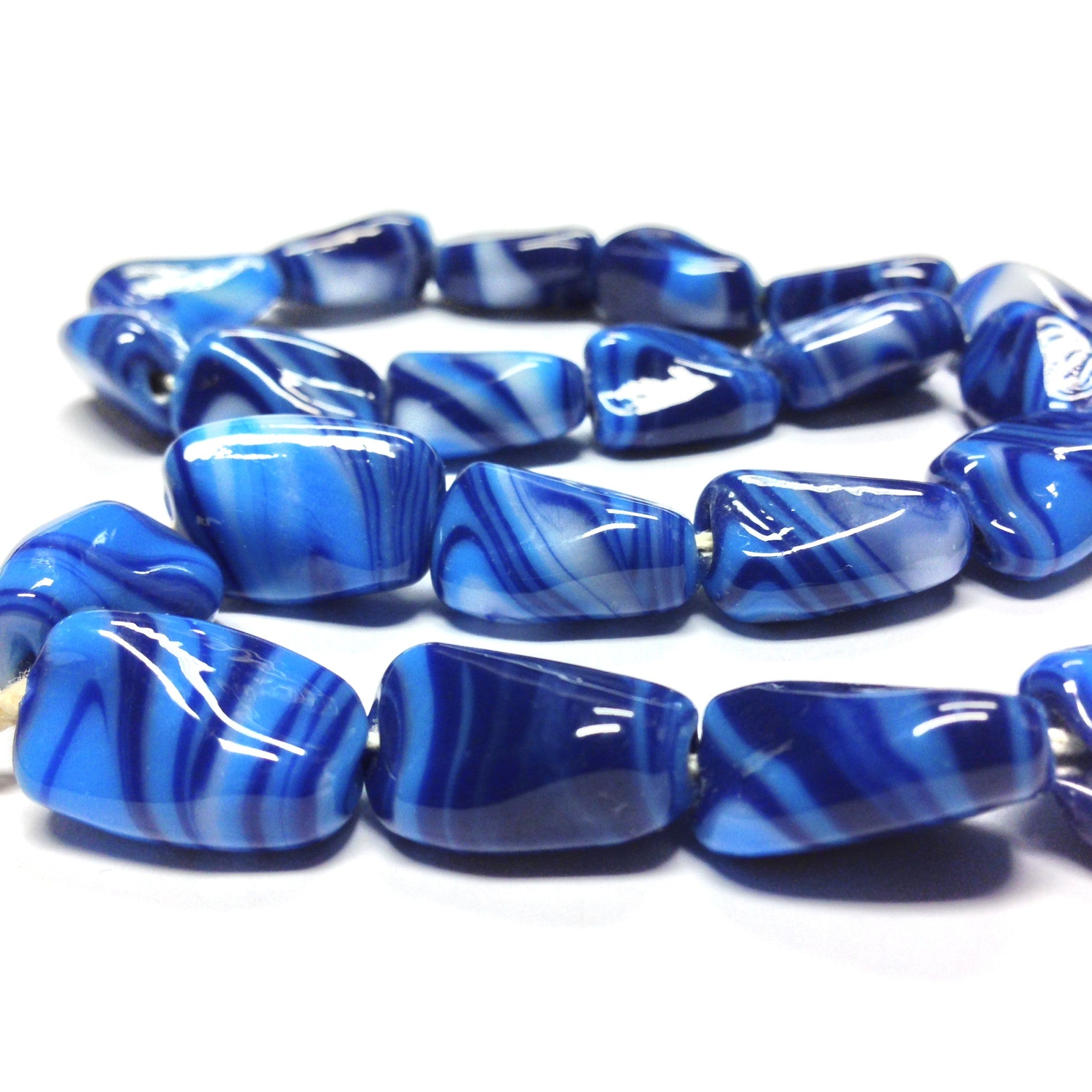 18X12MM Blue Glass Bead (24 pieces)