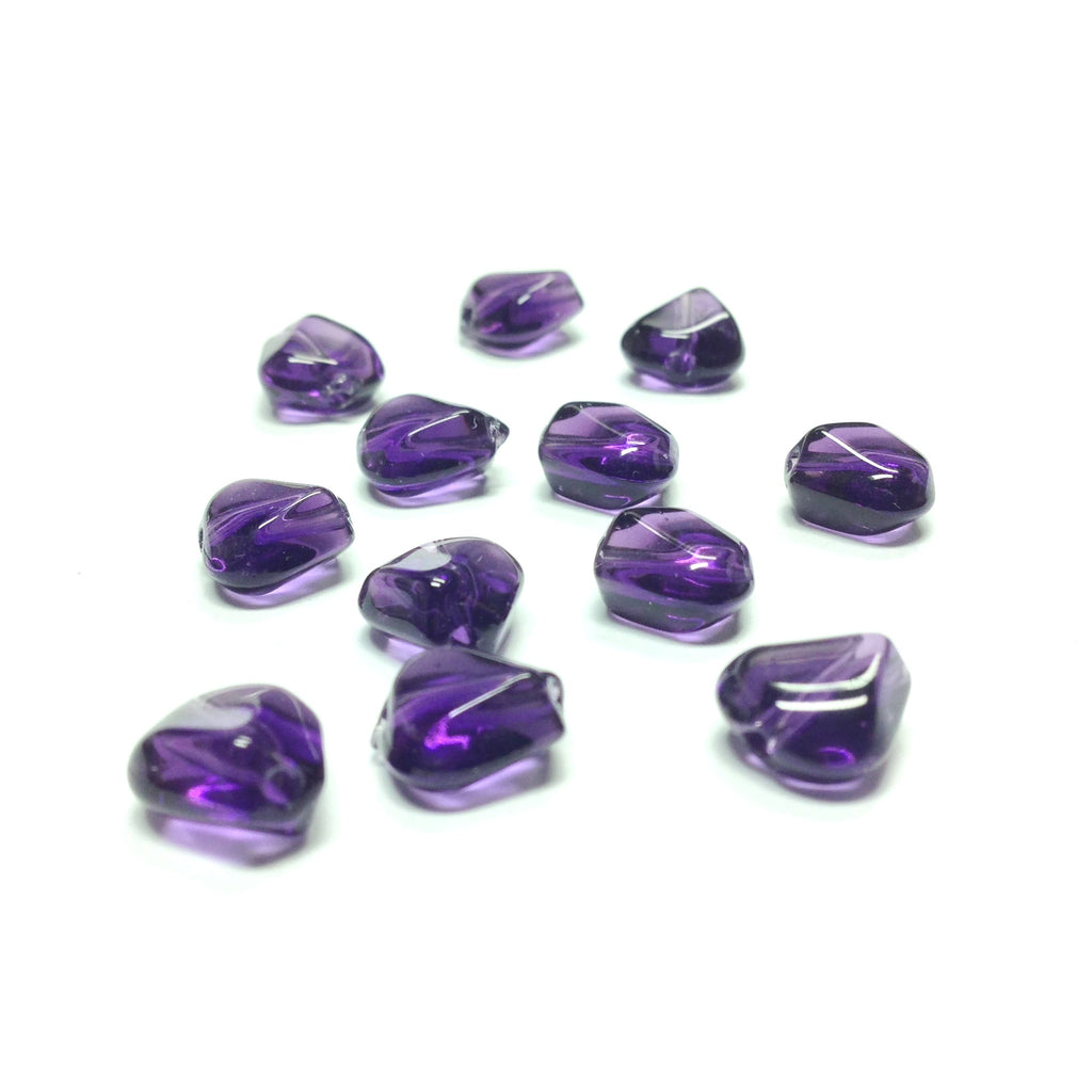 10MM Amethyst Triangular Glass Bead (72 pieces)