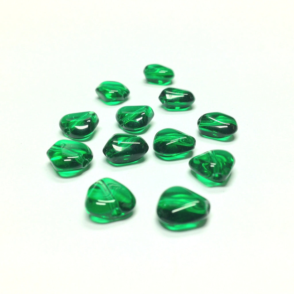 10MM Emerald Green Triangular Glass Bead (72 pieces)