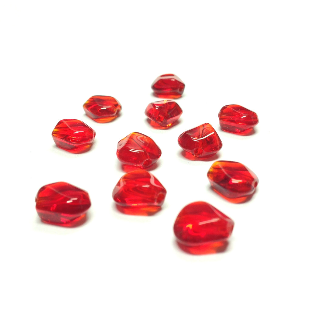 10MM Ruby Triangular Glass Bead (72 pieces)