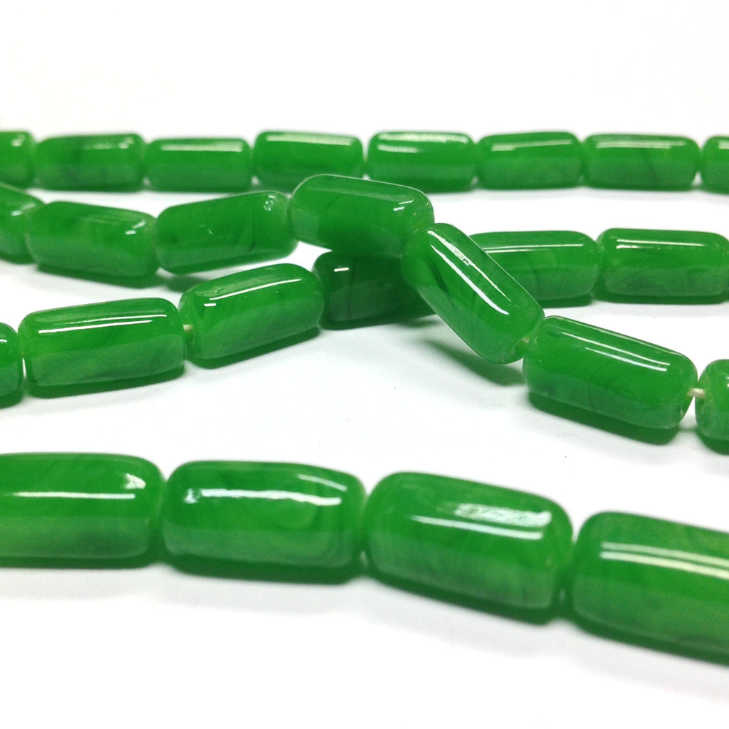 15X7MM Jade Green Rectangular Glass Tube Bead (72 pieces)