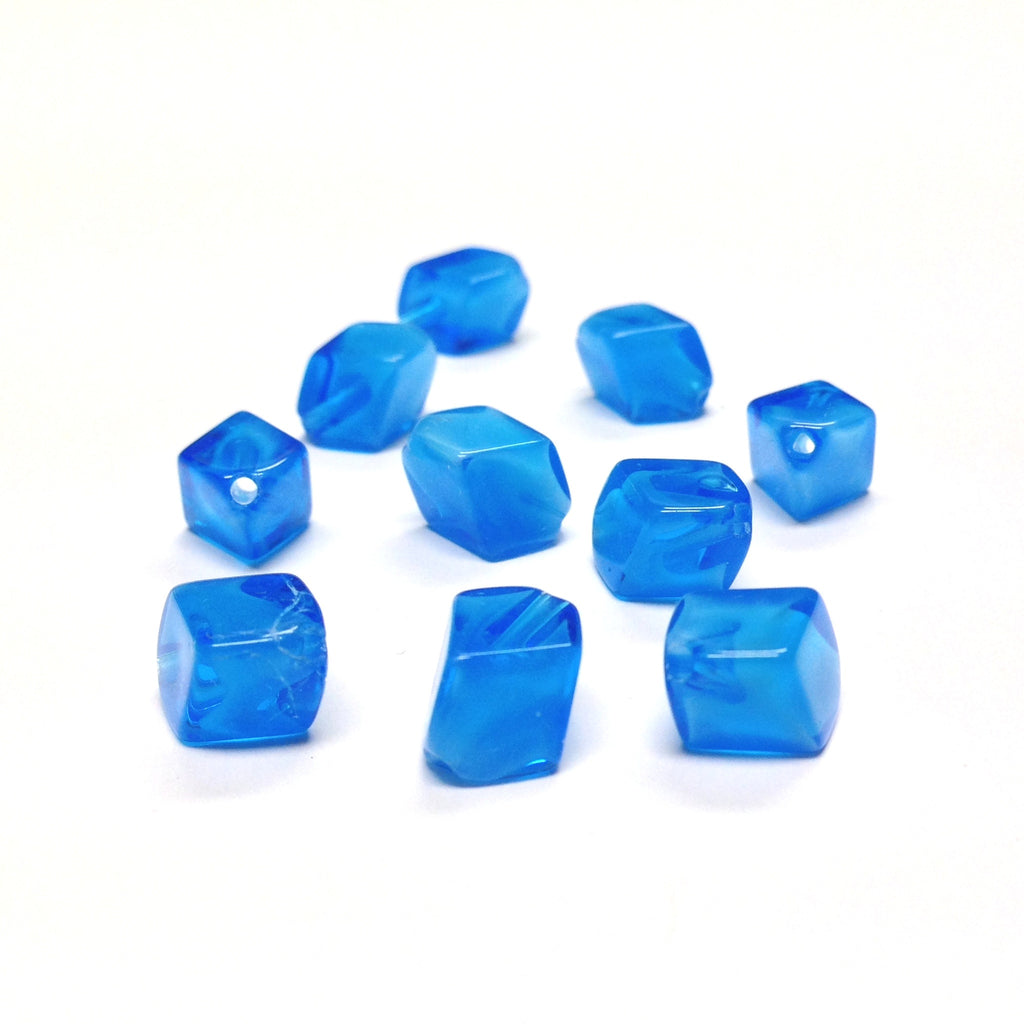 12MM Blue Diagonal Cube Glass Bead (72 pieces)