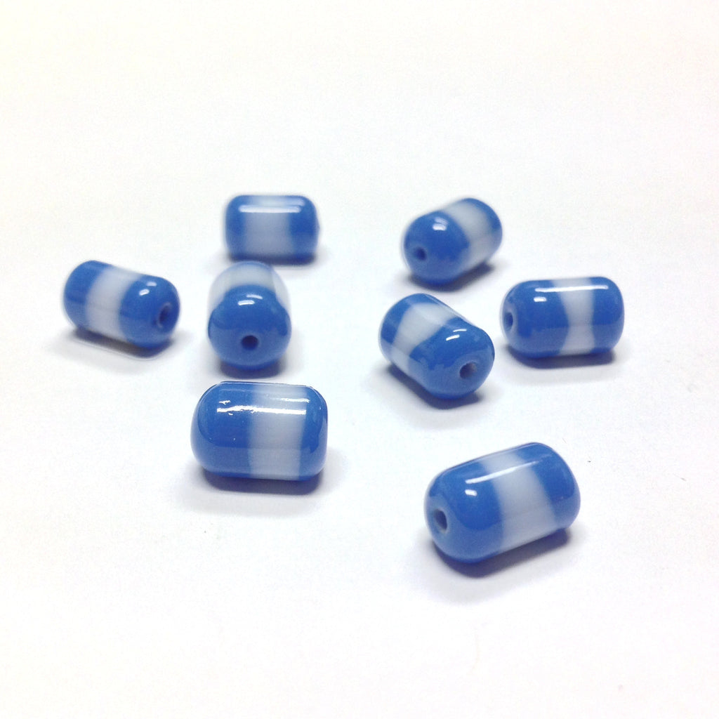 10X7MM Blue/White Glass Tube Bead (72 pieces)
