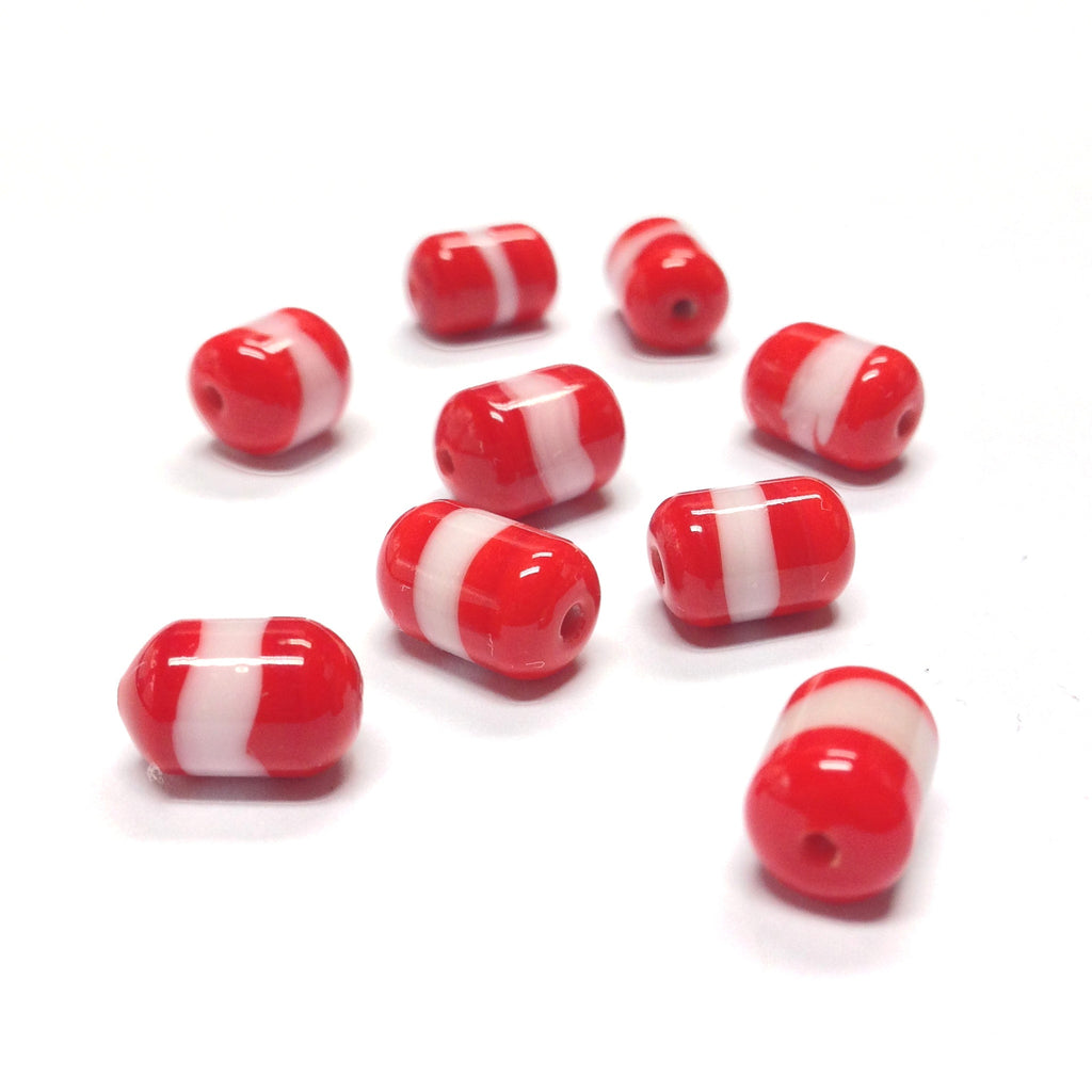 10X7MM Red/White Glass Tube Bead (72 pieces)