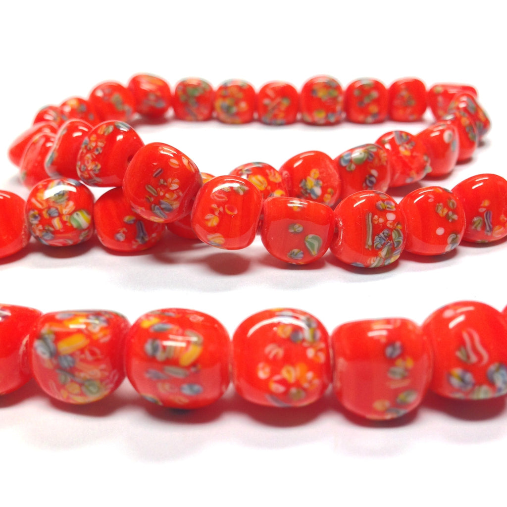 11MM Orange Tombo Triangular Glass Bead (36 pieces)