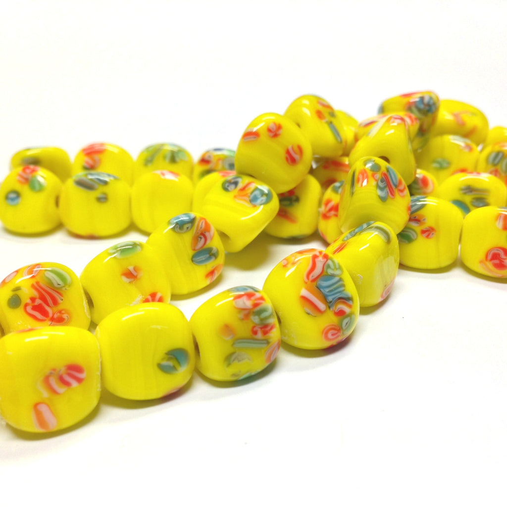 11MM Yellow Tombo Triangular Glass Bead (36 pieces)