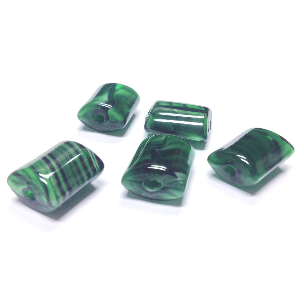 13X10MM Green Rectangle Glass Bead (36 pieces)