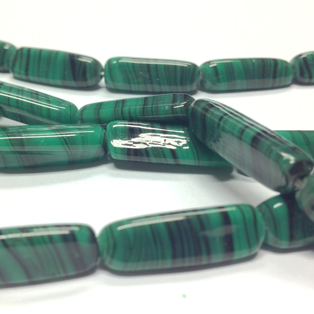 22X7MM Green Swirl Glass 3-Sided Tube Bead (40 pieces)