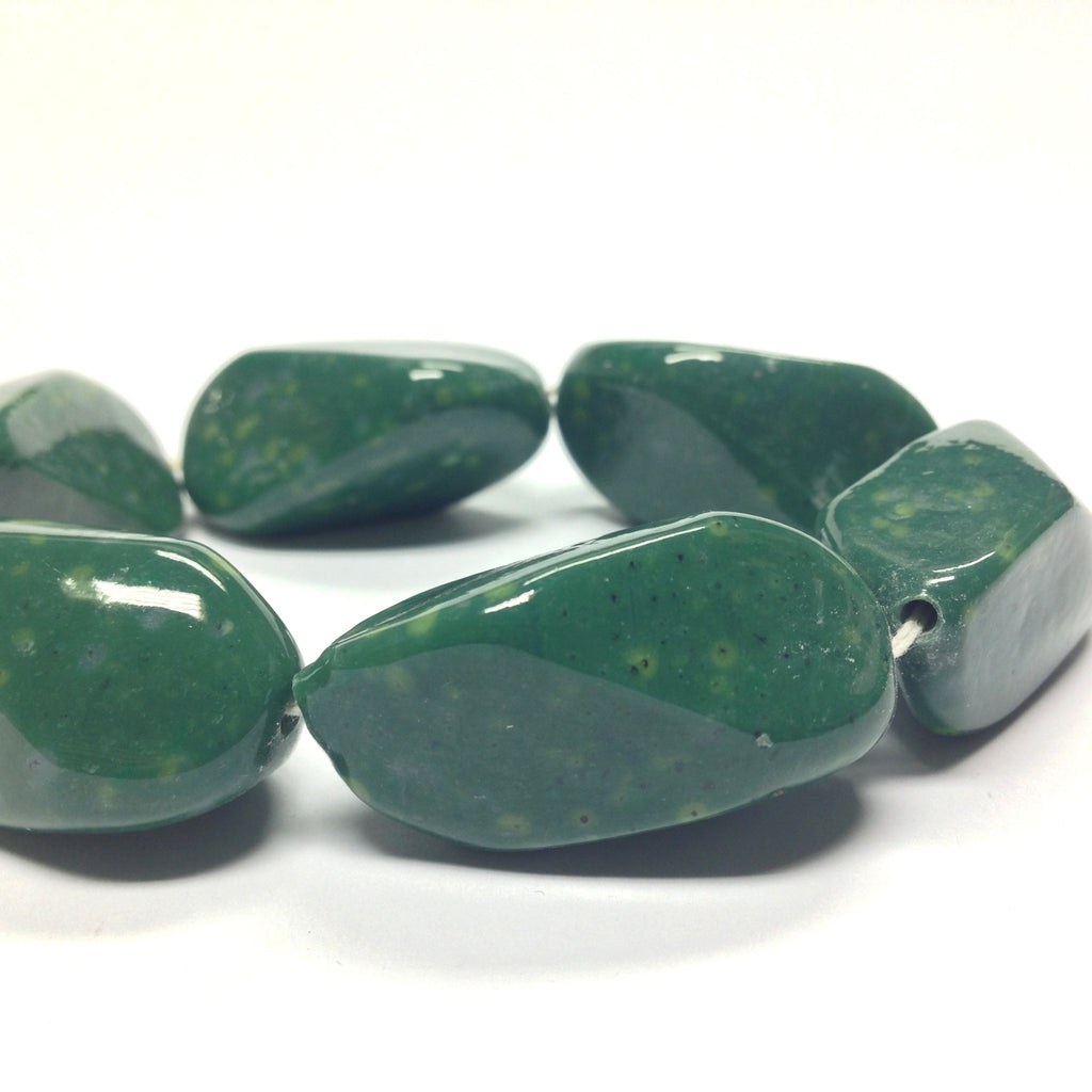 34X17MM Jade Baroque Oval Glass Bead (6 pieces)