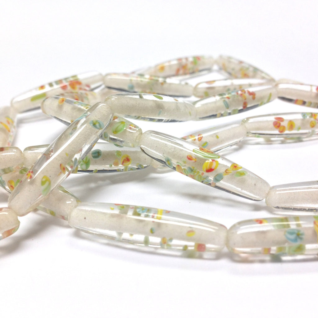 26X6.5MM Crystal Tombo Glass Oval Bead (30 pieces)