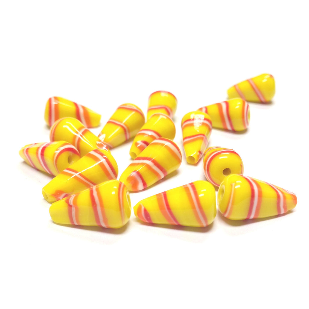 16X9MM Yellow/Red Stripe Glass Pearshape Bead (72 pieces)
