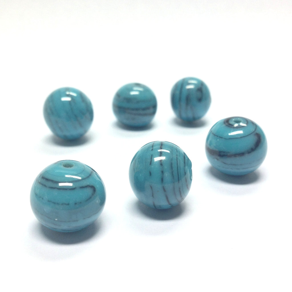 14MM Turquoise Glass Round Bead (24 pieces)