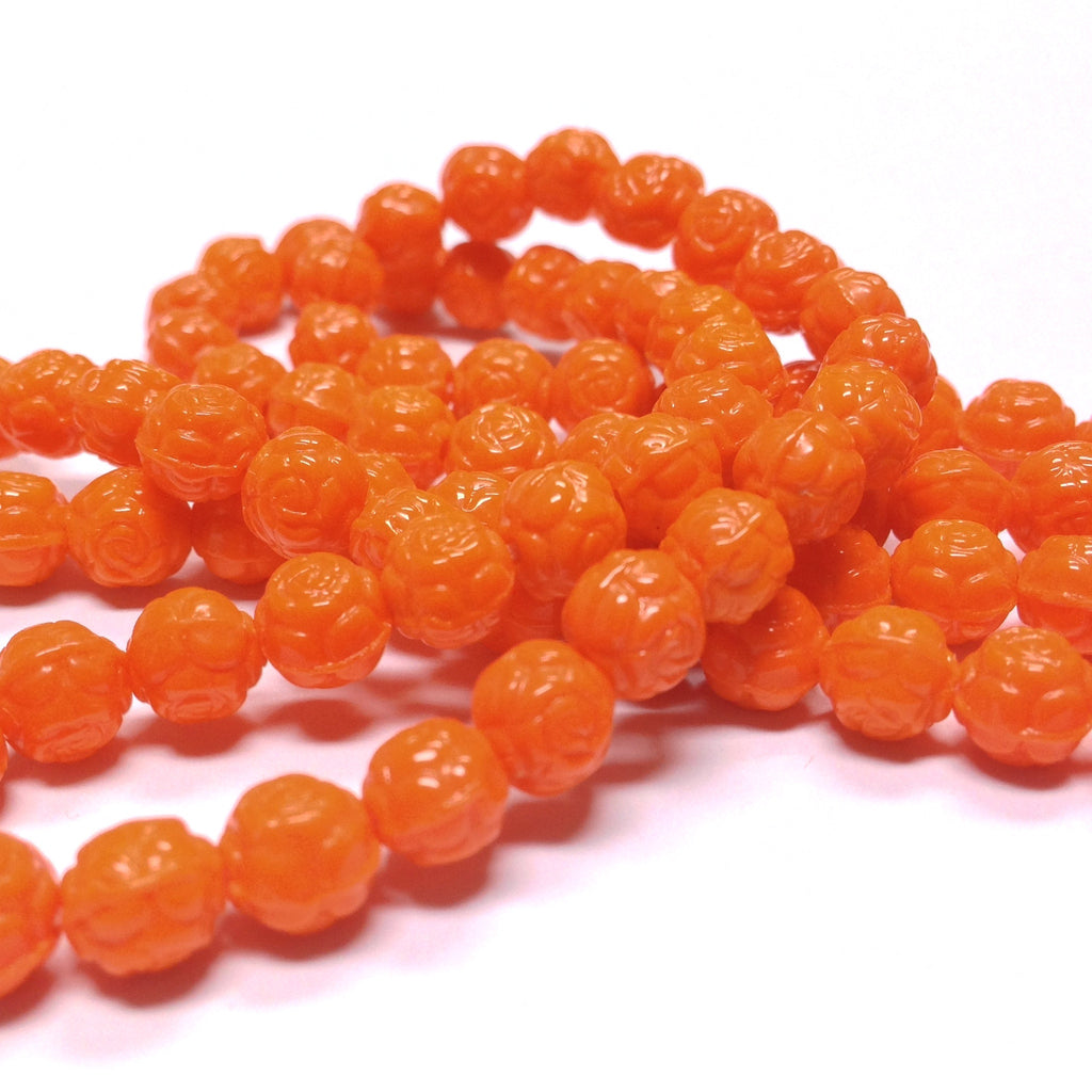 6MM Orange Glass Rosebud Bead (144 pieces)