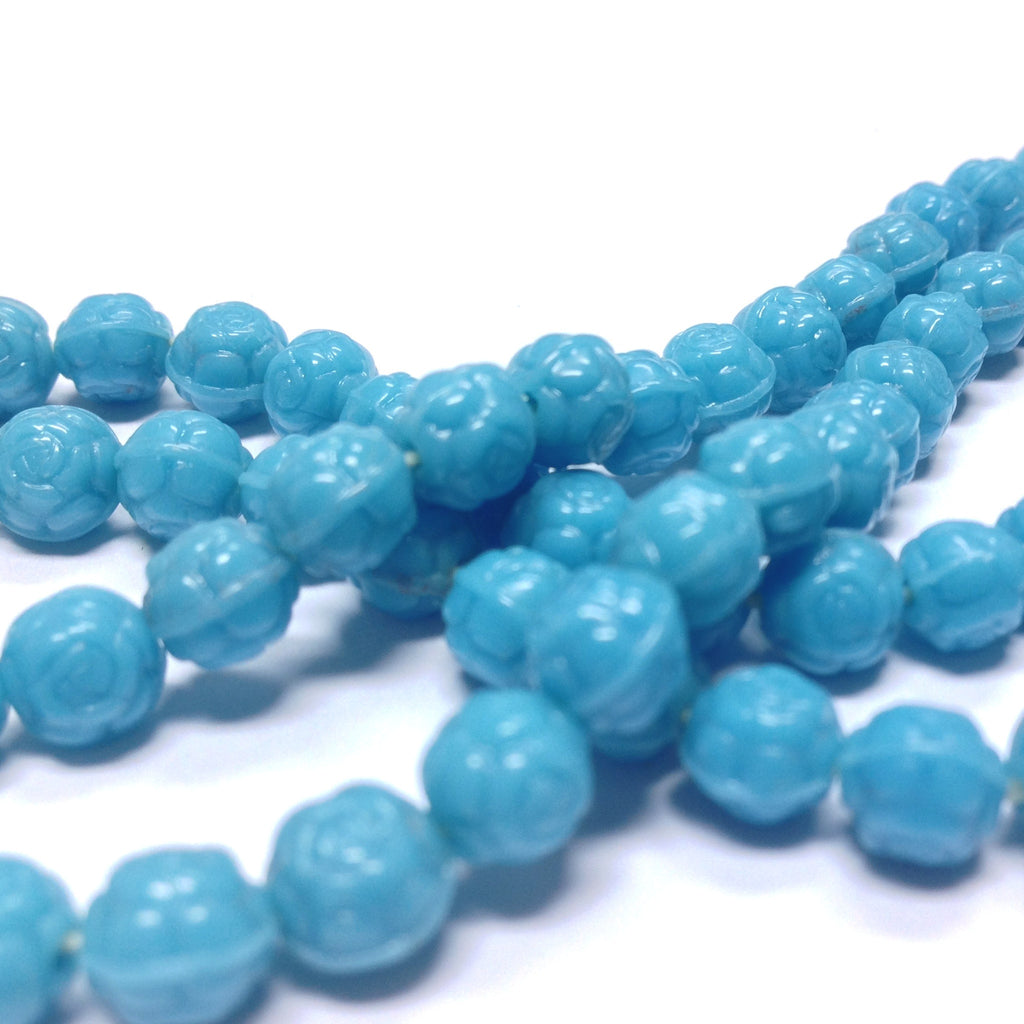 6MM Turquoise Glass Rosebud Bead (144 pieces)