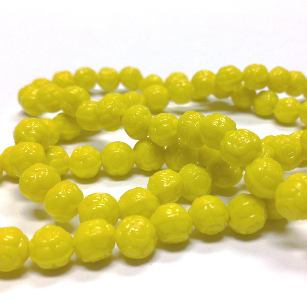 6MM Yellow Glass Rosebud Bead (144 pieces)