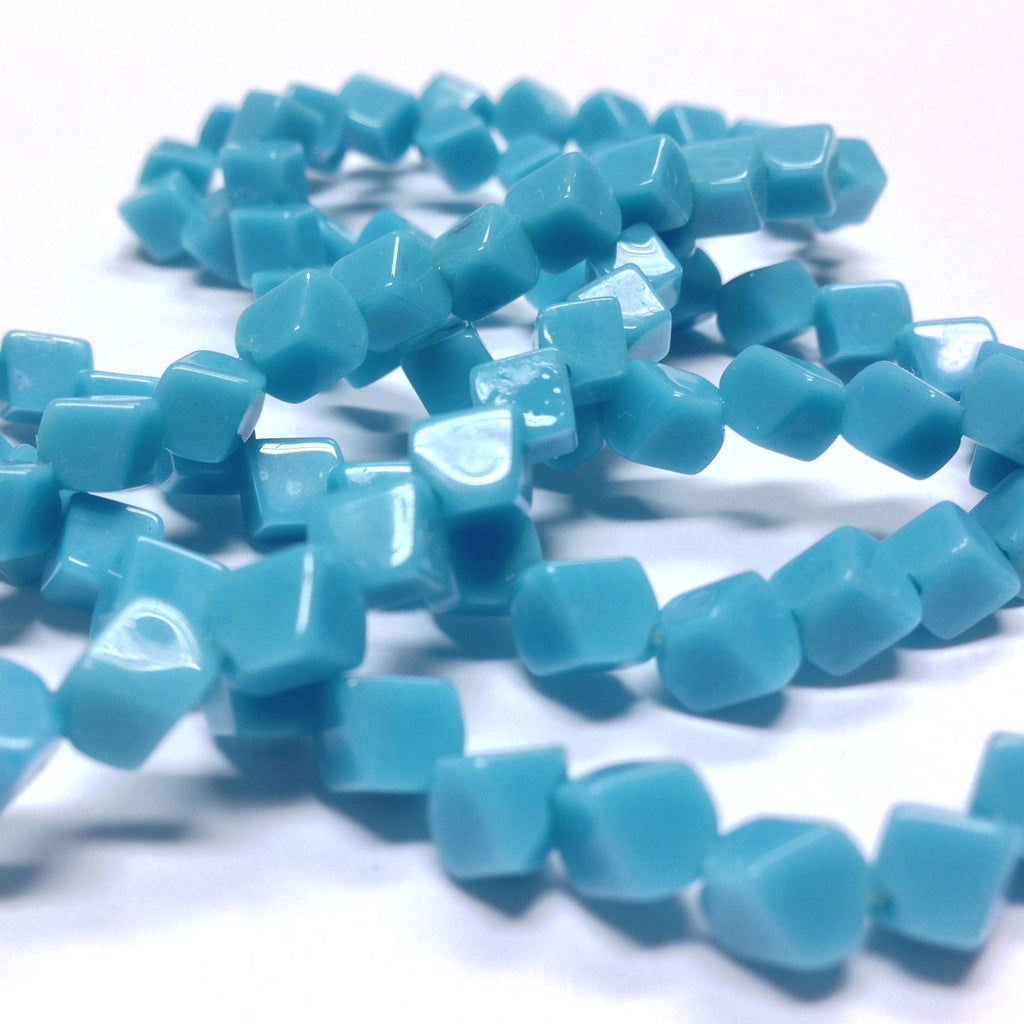6MM Blue Turquoise Glass Cube Bead Diagonal Hole (100 pieces)