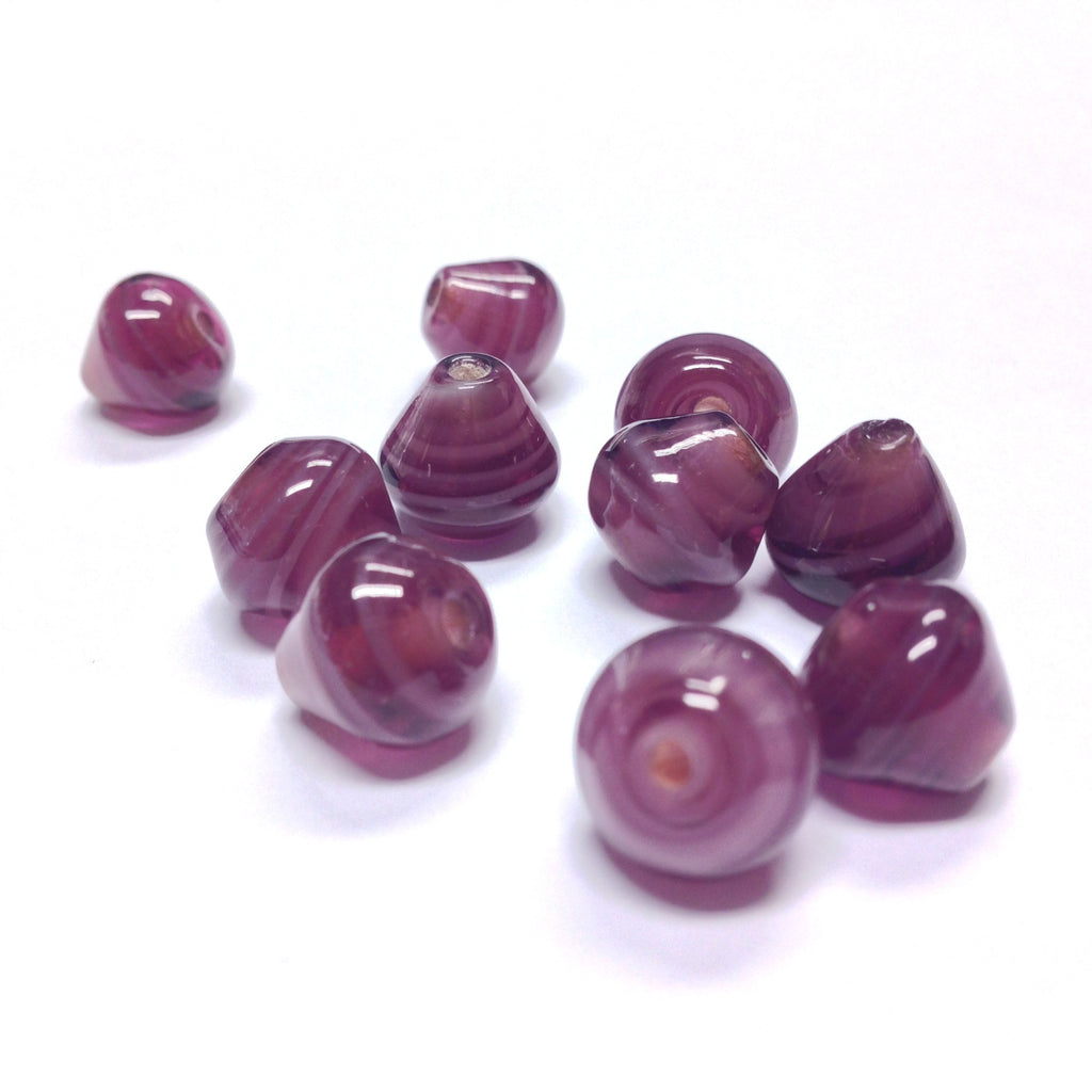 12MM Amethyst Glass Pearshape Bead (36 pieces)