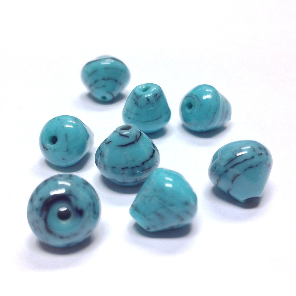 12MM Turquoise/Black Swirl Glass Pear Bead (36 pieces)
