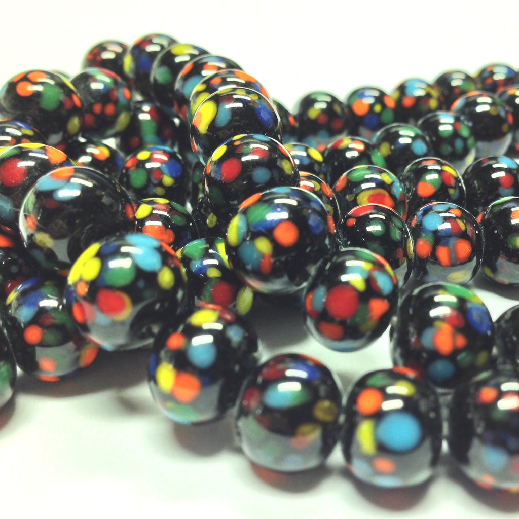 8MM Black Multicolor Round Bead (144 pieces)
