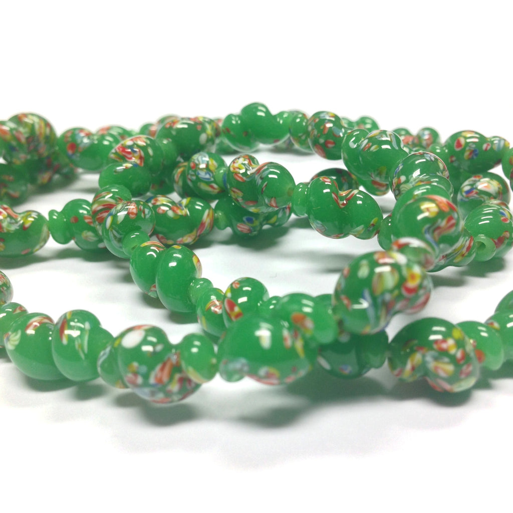 14X9MM Dark Jade Green Glass Twisted Oval Tombo Bead (36 pieces)
