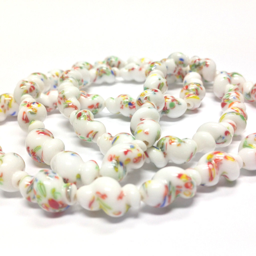 14X9MM Chalk White Glass Twisted Oval Tombo Bead (36 pieces)