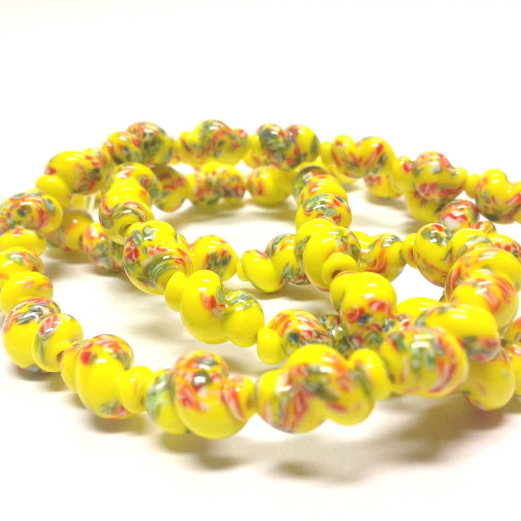 14X9MM Yellow Glass Twisted Oval Tombo Bead (36 pieces)