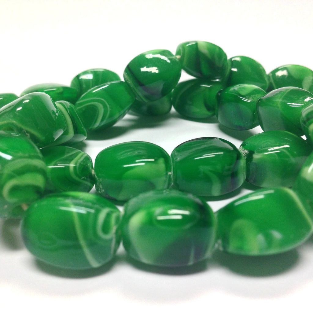 16X12MM Emerald Green Glass 4-Sided Bead (36 pieces)