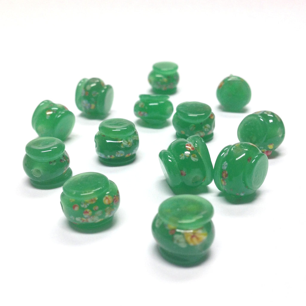 11MM Dark Jade Green Tombo Glass Drum Bead (36 pieces)