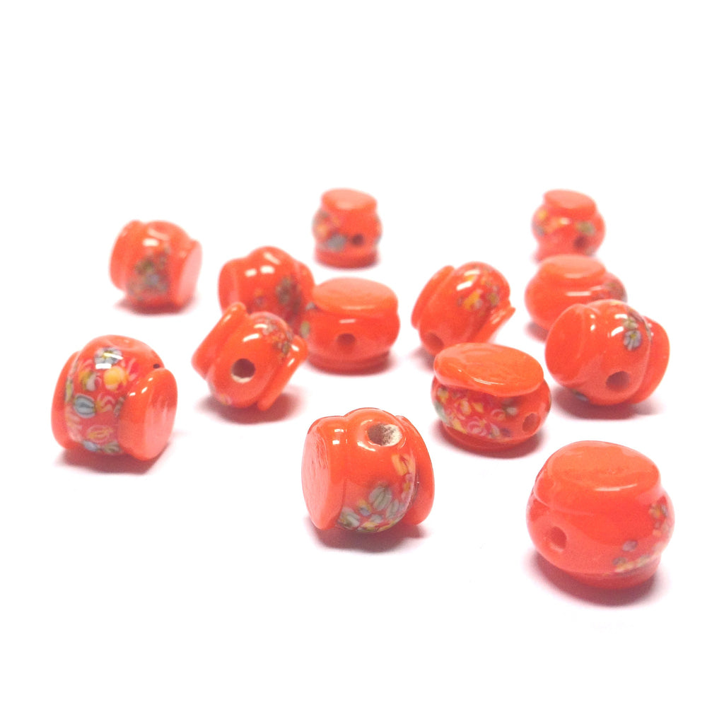 11MM Orange Tombo Glass Drum Bead (36 pieces)