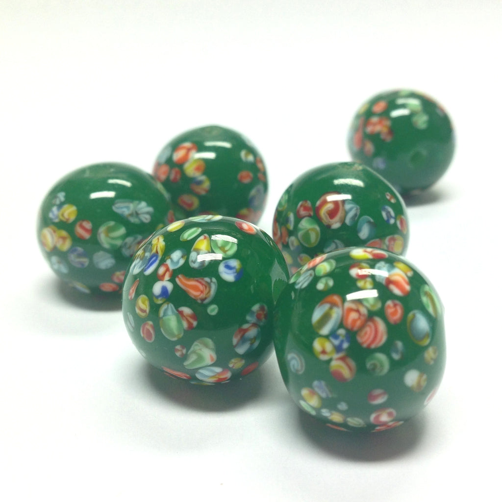 18MM Jade Green Tombo Glass Round Bead (12 pieces)