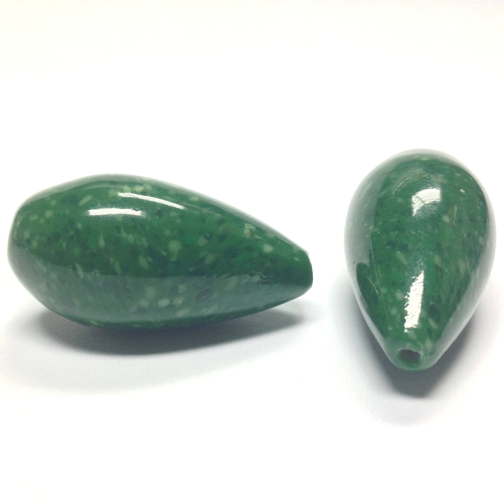 36X18MM Dark Jade Green Glass Pearshape Bead (12 pieces)