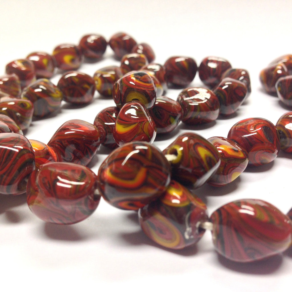 14X11MM Brown Glass Multi/Color Nugget Bead (36 pieces)