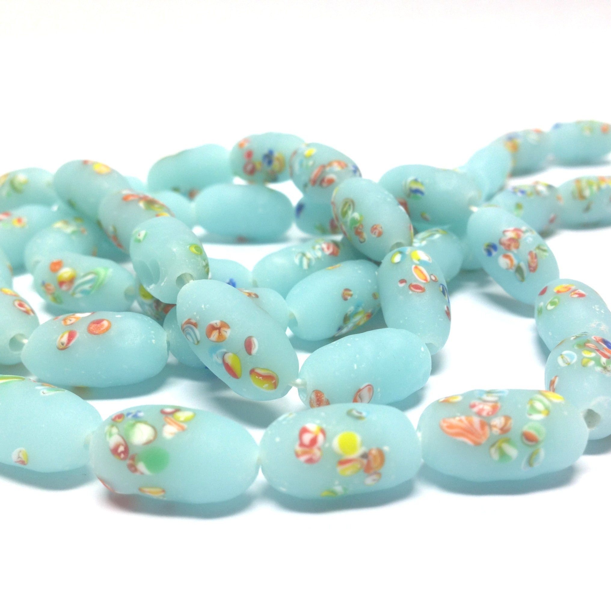 14X8MM Aqua Mat Tombo Glass Oval Bead (36 pieces)