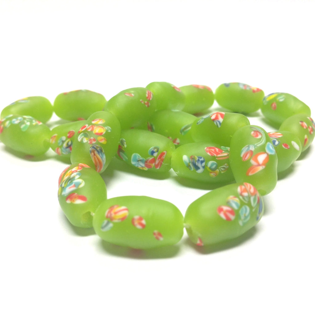 14X8MM Green Mat Tombo Glass Oval Bead (36 pieces)