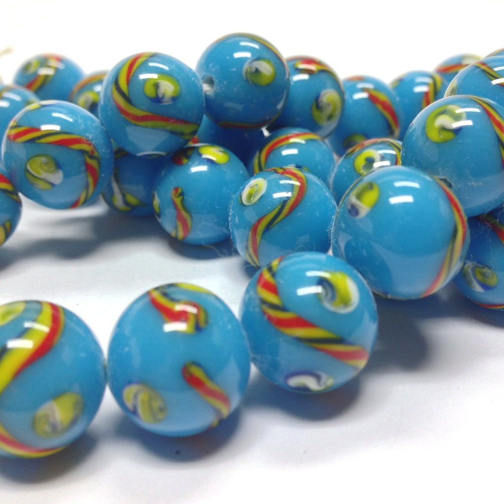 12MM Turquoise Patterned Round Glass Bead (36 pieces)