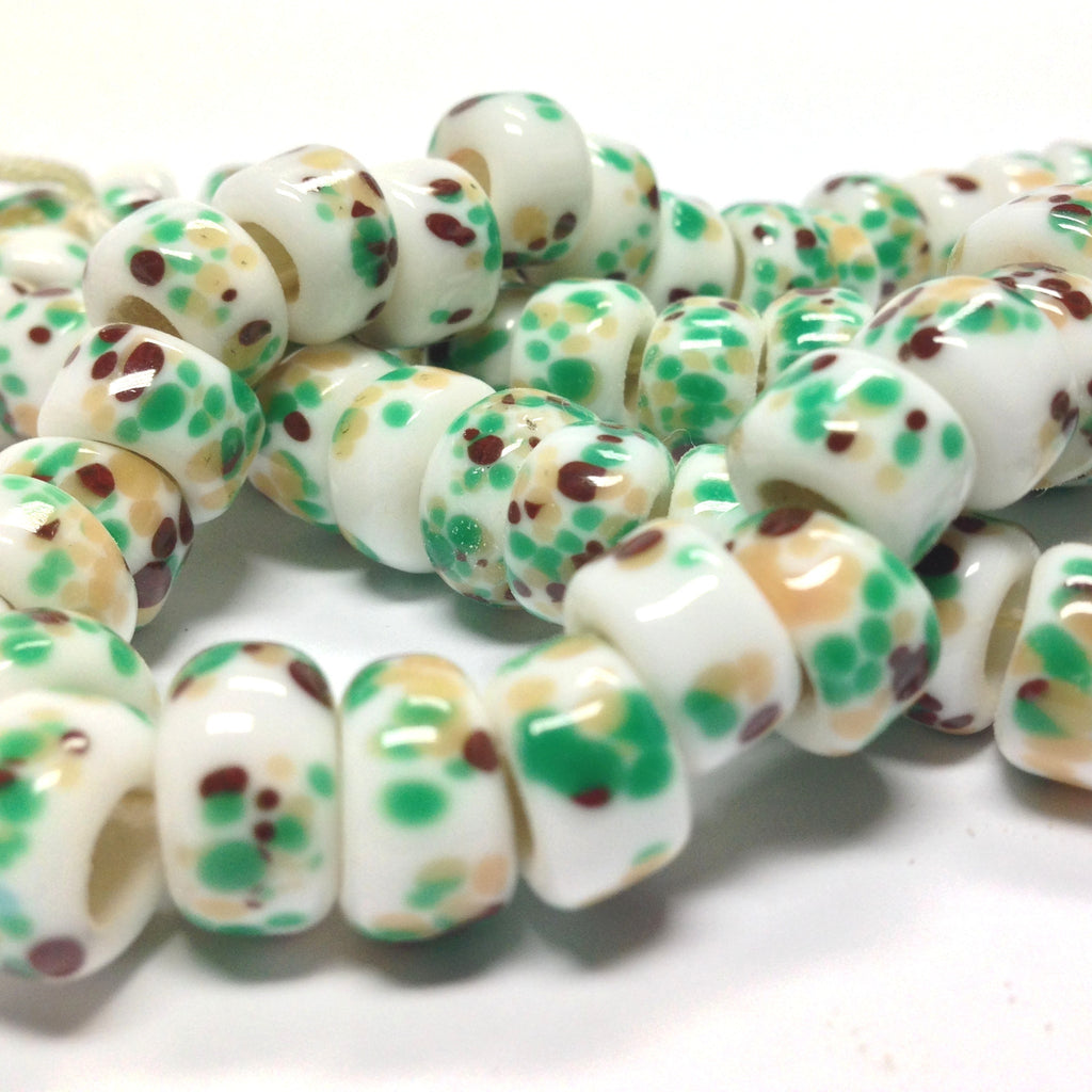 11X6MM White Glass w/Green/Brown Rondel Bead (72 pieces)