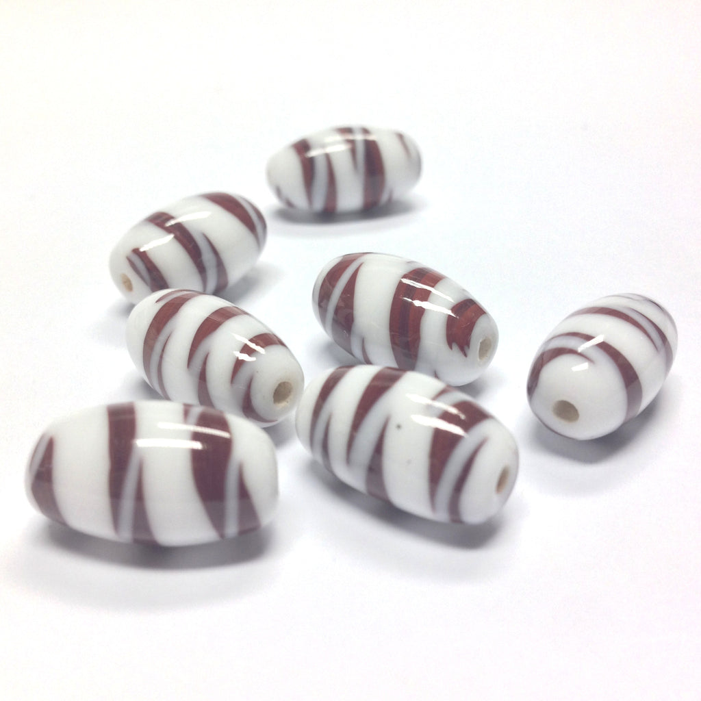 16X10MM Brown Stripes On White Glass Oval Bead (36 pieces)