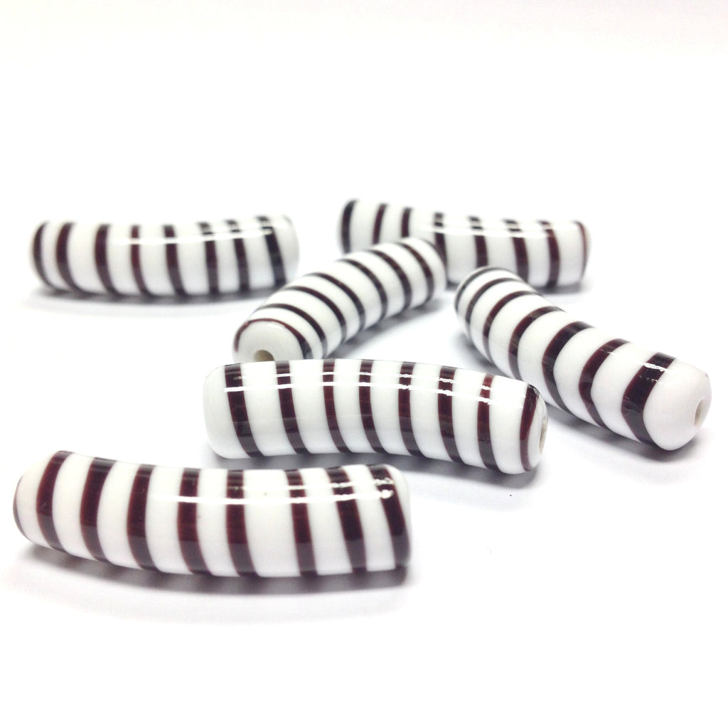 30X8MM Brown/White Stripe Macaroni Bead (12 pieces)