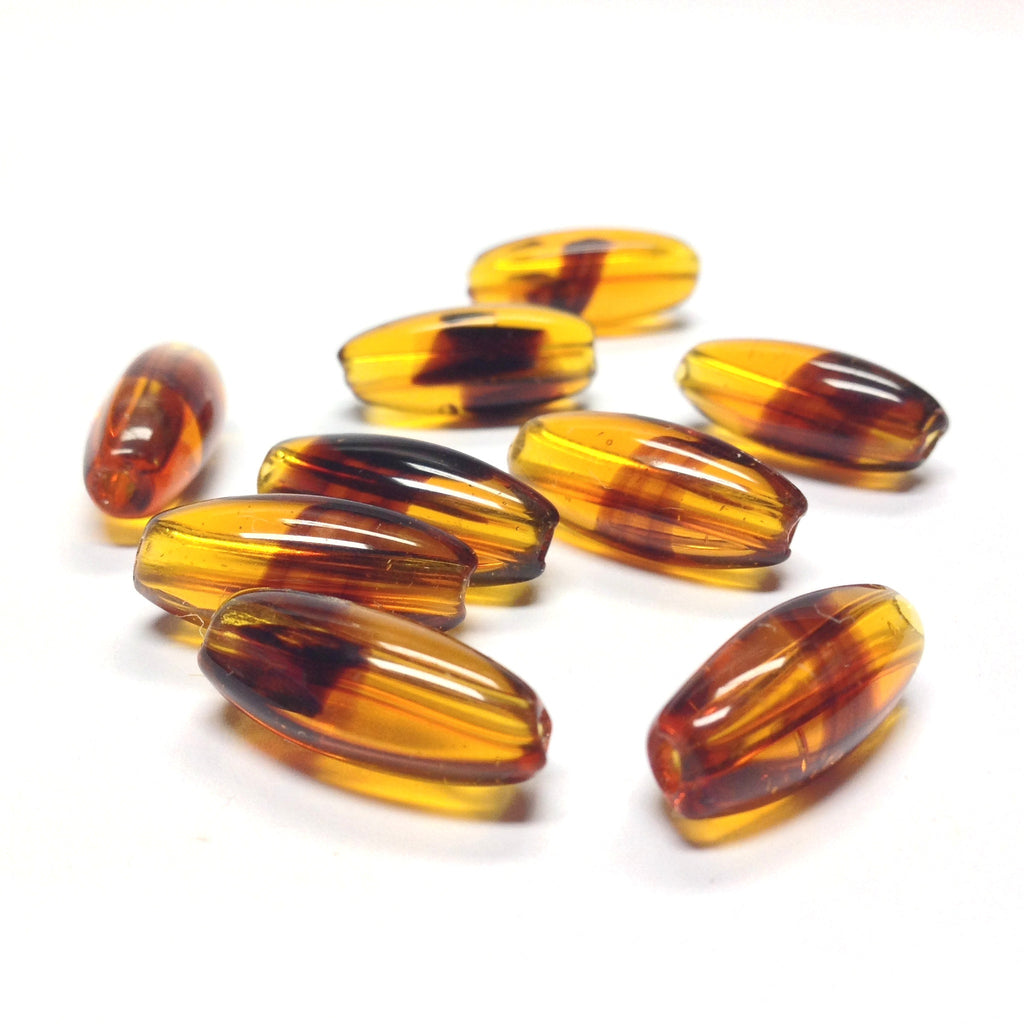 18X7.5MM Tortoise Glass Oval Bead (36 pieces)