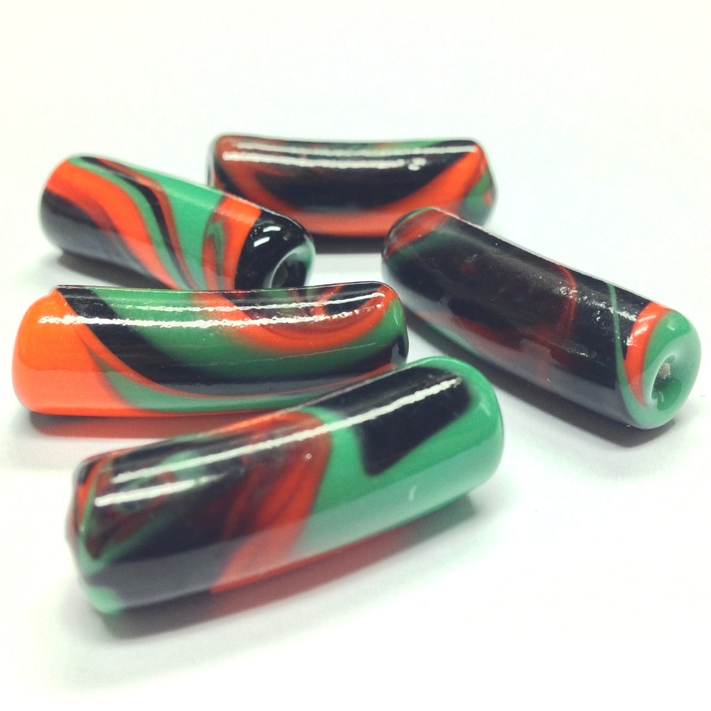 28X10MM Green/Orange/Black Swirl Tube Beads (12 pieces)